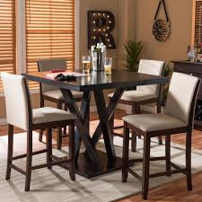 Everdon 5-Piece Pub Table Set With Modern In Dark Brown, Dark Brown ...