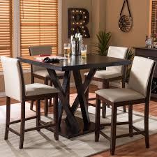 Everdon 5-Piece Pub Table Set With Modern In Dark Brown, Dark Brown ...