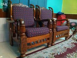 3 1 Mysore Teakwood Wooden Sofa With Cushions And Teapoy