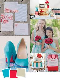 Wedding Color Combination Of Aqua Cherry Red And Khaki