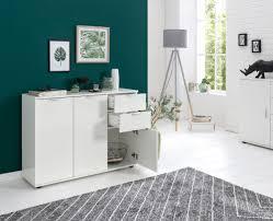 finebuy sideboard weiß fb52740 107x78 5x35 cm kommode mit türen und schubladen design hochglanz highboard klein kleiner glanz wohnzimmerschrank
