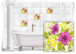 badezimmer fliesen aufkleber fliesen bild kachel hibiskus