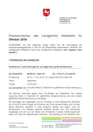 prozessvorschau des landgerichts hildesheim für oktober 2018