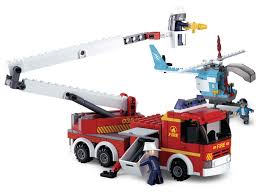 Fire Truck Telescopic Platform Helicopter Compatible Building Bricks ...