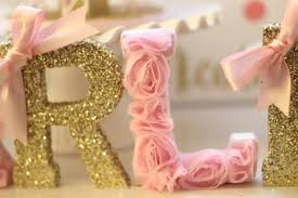 Custom Pink And Gold Wooden Letters OR Paper Mache Letters