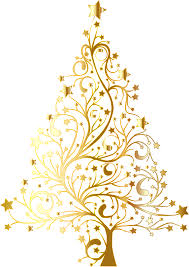 Starry Christmas Tree Gold No Background By GDJ