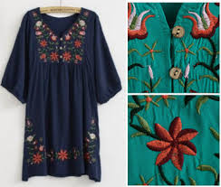 2018 Hot Sale Free Shipping Vintage 70s Mexican Ethnic Floral EMBROIDERED Hippie Blouse DRESS Women Clothing Vestidos Sz In Dresses From Womens