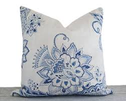 Decorative Lumbar Throw Pillows by White Blue Floral Pillows Floral Designer Pillow Covers Blue