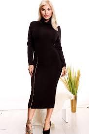 black long sleeves bottom front side zipper high neck dress cute