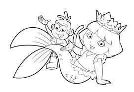 Dora The Explorer Christmas Printable Coloring Pages Free Of Princess Colouring To Print Full Size