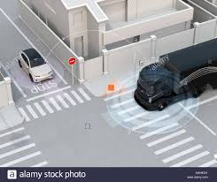 Semi Truck Detected Car In One-way Street In The Blind Spot ... Vehicle Blind Spot Assistance Stock Image Of Blind Angle Spots How To Check Them While Driving Aceable 2 X 3 Inch Rear View Mirrors Rearview Wide Angle Round Best Truck Curtains Decoration Ideas Drapes Mirror Pcs Black Fanshaped Auxiliary Arc Car Side 360 Adjustable Fits And Insights Wainwright Insight Wise Eye Blind Spot Truck Mirror Back Up Light Trouble Spot Unsafe Practices Saaq Right Position Trucklite 97619 5 Convex