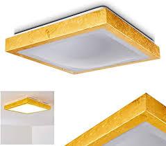 led deckenleuchte sora eckige deckenle aus metall in moderner gold optik 18 watt 1380 lumen lichtfarbe 3000 kelvin warmweiß ip 44 auch für