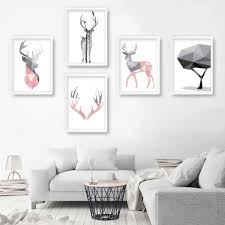 sonstige geometric print stag nature gallery wall yellow
