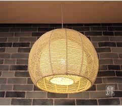 abat jour chambre gar輟n japonais rétro ronde bambou rotin pendentif lumières rotin jardin