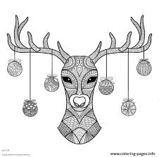 Print Hand Drawn Deer Head Christmas Coloring Pages