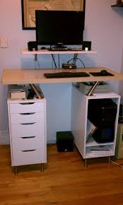 Diy Floating Desk Ikea by Another Nice Ikea Hack Standing Desk Using Capita Brackets And