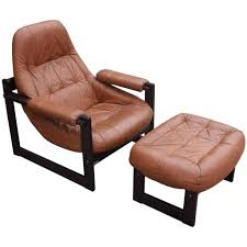 stunning percival lafer leather and rosewood lounge chair and ottoman