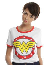 dc comics wonder woman circle logo girls ringer t shirt topic
