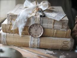 Shabby Book Bundle With Ribbon Vintage Key And Clock Face