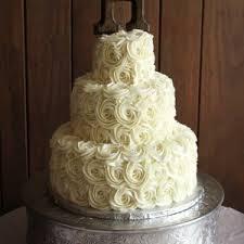 Rustic Buttercream Roses Wedding Cake