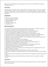 Resume Templates Military Contractor
