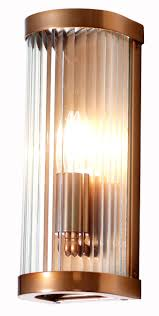 wall light featuring curved reeded glass metalwork in copper
