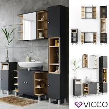 vicco badmöbel set aquis anthrazit bad spiegel waschtischunterschrank badschrank