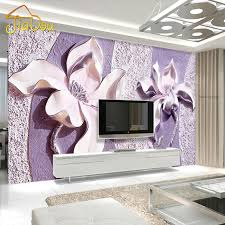 Customize Any Size 3D Relief Purple Magnolia Bedroom TV Background Wall Paper Home Decor Living Room Non Woven Mural Wallpaper In Wallpapers From