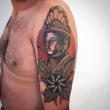 Yet Another Tattoo Designed On The Upper Arm East Asian Influence This One Are Particularly Distinct And Noteworthy Buddha Appears In Deep
