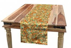 abakuhaus tischläufer esszimmer küche rechteckiger dekorativer tischläufer orange und türkis doodle curling blumen kunst kaufen otto