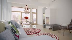 Classy Red Rounded Rug With White Sectional Sofa As Well Modern Dining Set Small Apartment Living Room Combo Ideas