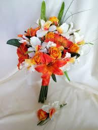 Destination Wedding Bouquet Orange Tiger Lily Yellow Bridal Tropical