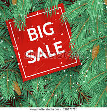 Background Of Christmas Tree Branches And Big Sale Paper Banner Template Design Vector