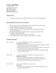 Police Officer Objective Resume Resumes