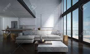 die lounge und doppelter raum wohnzimmer und küche interior design und mauer