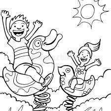 Kids Playing On Park Rides Black And White Stock Vector Inside Children In The Clipart