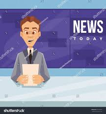 Background Design News Reporter Inspirational Happy Smiling Anchor Man Character Telling Stock Vector