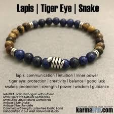 Snake Skin Shedding Lucky by Chakra Yoga Bracelet Deep Peace Lapis Tiger U0027s Eye Beaded Mala