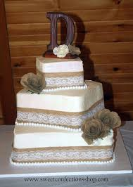 Source Wedding In Clude Square Vintage Burlap And Lace Cake