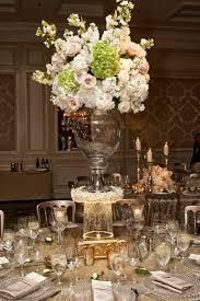 Wedding Arrangement Of Pink Rose White Hydrangea On Top Glass Vase