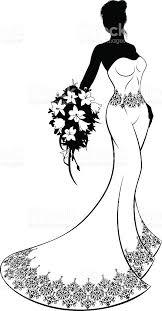 Wedding Dress Bouquet Silhouette Clipart
