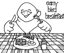 Early Bird Breakfast Coloring Page