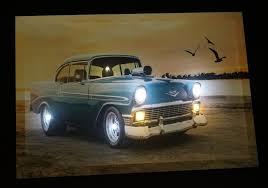 chevrolet corvette blau oldtimer led leucht bild beleuchtung