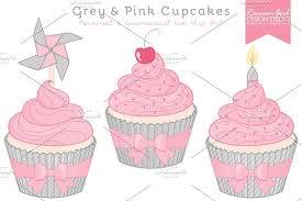Grey & Pink Cupcake Clipart Illustrations