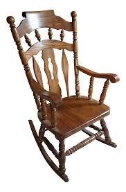 Virginia House Solid Oak Rocking Chair | Chairish