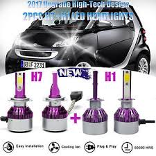 4pcs 400w h1 h7 combo car led headlight bulbs kit high low beam