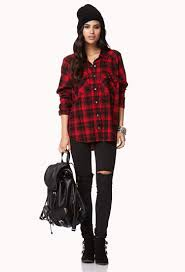 forever 21 campfire plaid shirt in red lyst