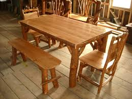 Rustic Log Sassafras Table Chairs And Benches Set Cherry Wood Top