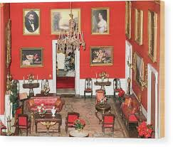 White Wood Print Featuring The Photograph Miniature Red Room Of House By Art Spectrum