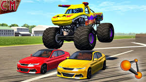 100 Monster Truck Jump Destructions Crashes BeamNG Drive 1 YouTube